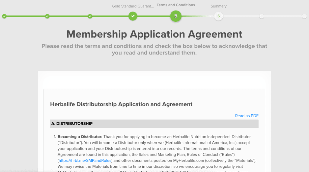 herbalife applications agreement